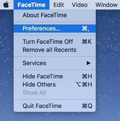 Access the FaceTime Settings Menu