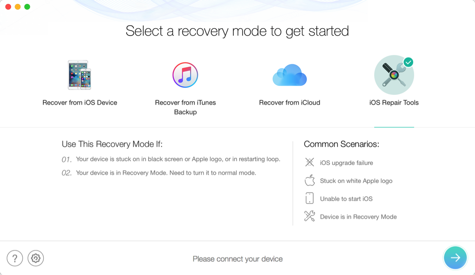 How to Factory Reset iPhone/iPad without iTunes via PhoneRescue – Step 1