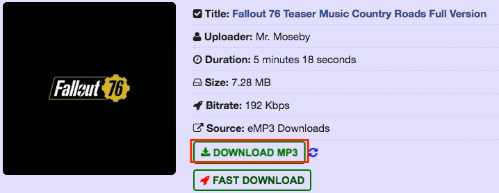 Free Download Fallout 76 Country Roads MP3