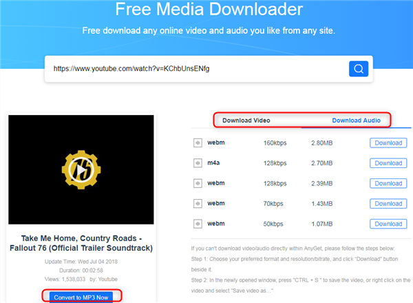 Free Download Country Roads mp3 via AnyGet