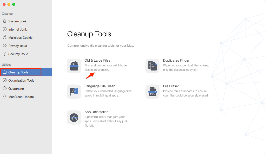 Find and Delete Big Files on Mac with MacClean – Step 2