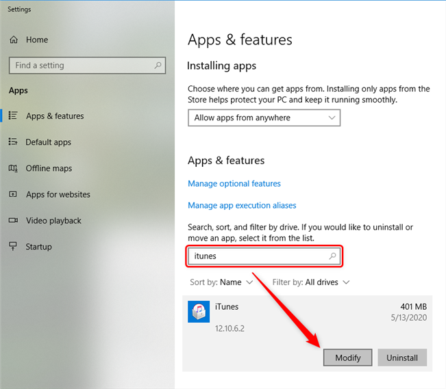 Locate Apps & Features and Find iTunes