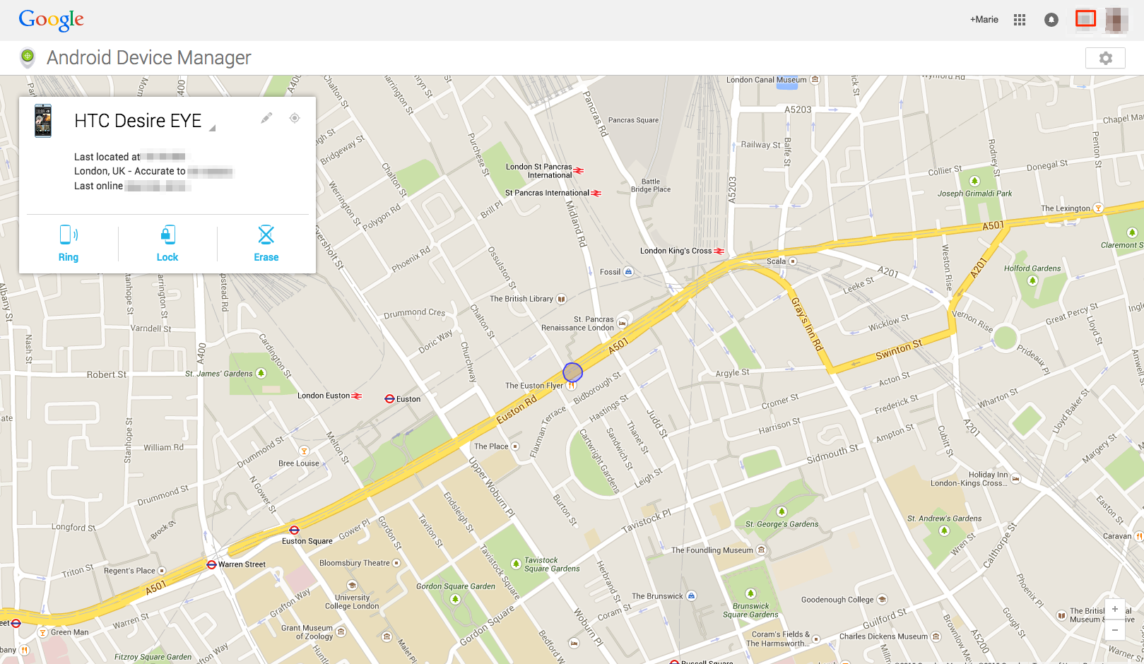Find & Track Lost Android phone/tablet with Google Maps – Screen Overview