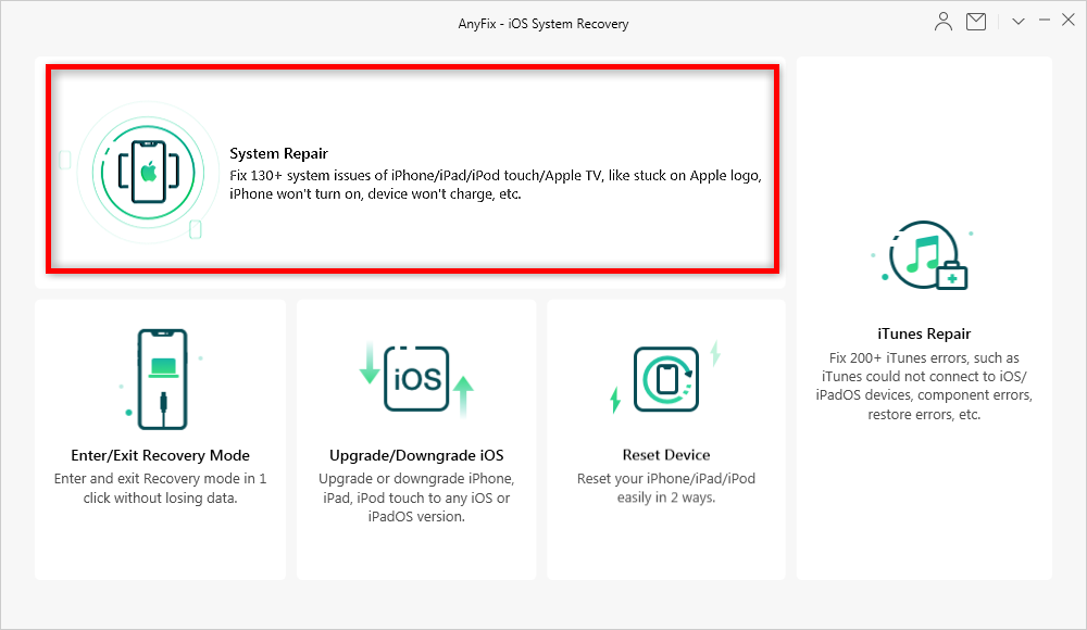 Choose the iOS Repair to Fix Firmware File Not Compatible via AnyFix