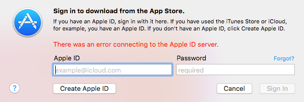 An Error Connecting to the Apple ID Server on Computer