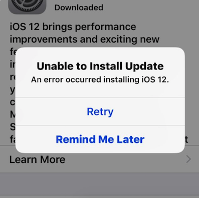 An Error Occurred Installing iOS 12