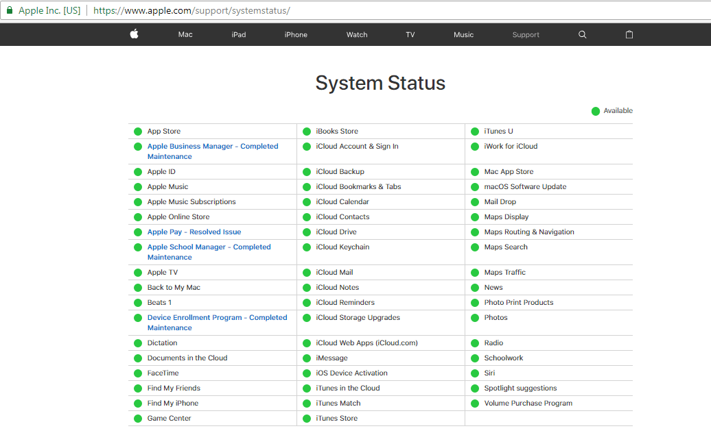 Fix Apple Music Content Not Authorized by Checking Apple System Status
