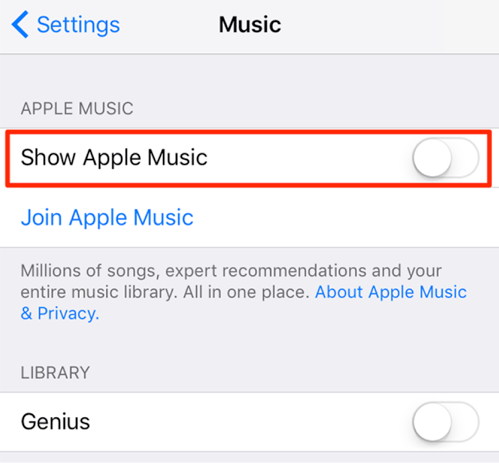 Fix Apple Music Item Not Available - Deselect Apple Music in Music Settings