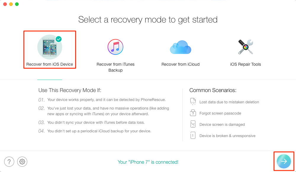 How to Recover Lost Music on iPhone after iOS Update – Step 1