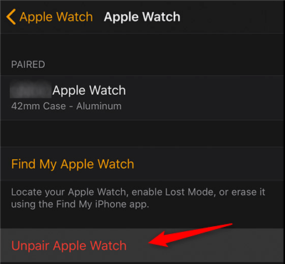 Unpair the Apple Watch from your iPhone