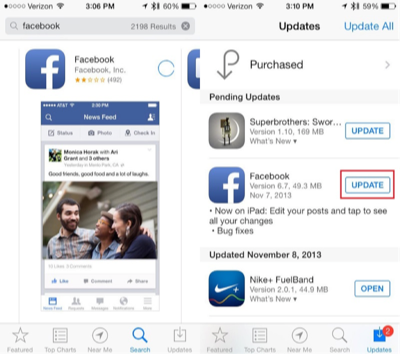 Fix Facebook Broken/Crash via Updating Facebook App