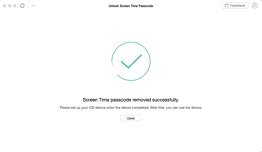 AnyUnlocked removed the Screen Time password