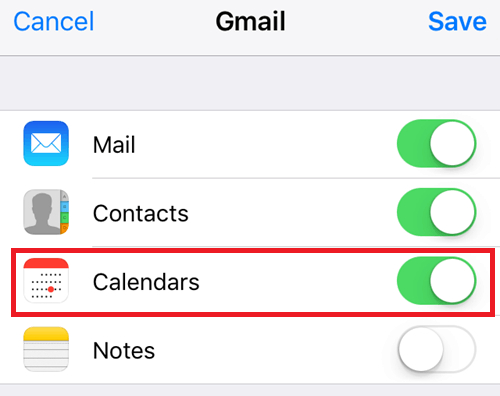 Fix Google Calendar Not Syncing with iPhone Calendar - Check Calendar Switch