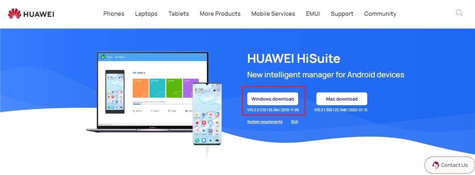 Connect Huawei to a Computer via HiSuite - Step 1