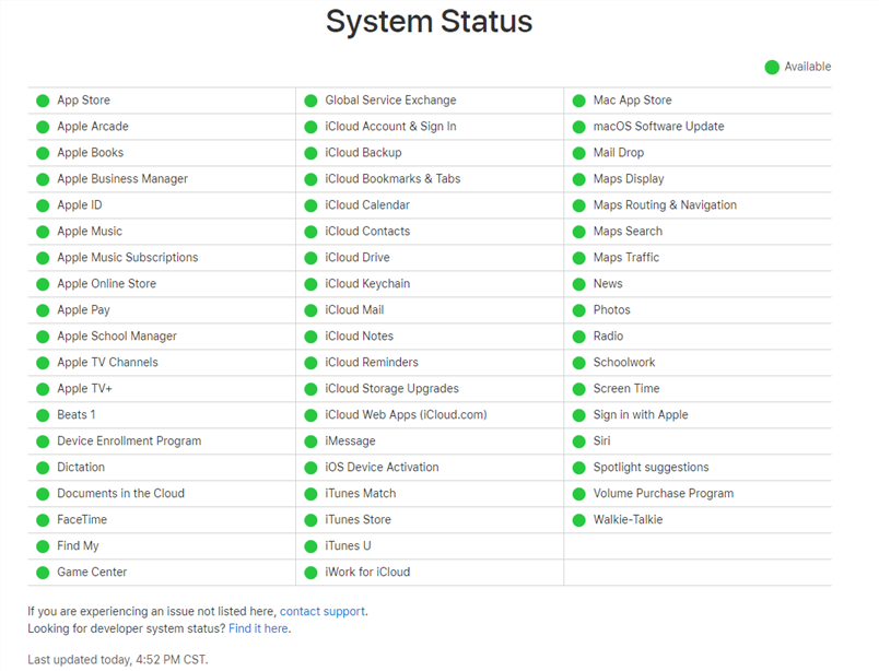 Check Apple System Status