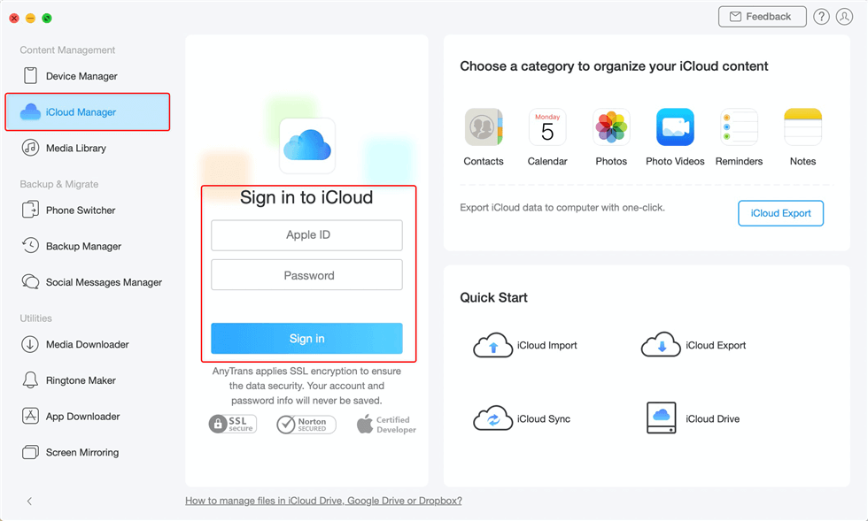 Tap iCloud Manager and Enter Apple ID and Password