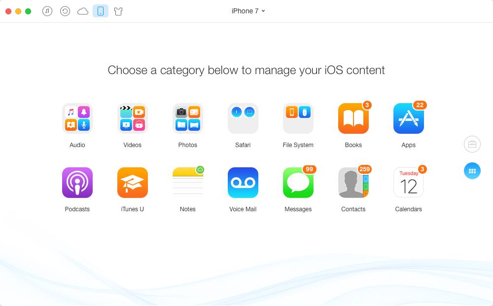 Screenshot of AnyTrans on Mac