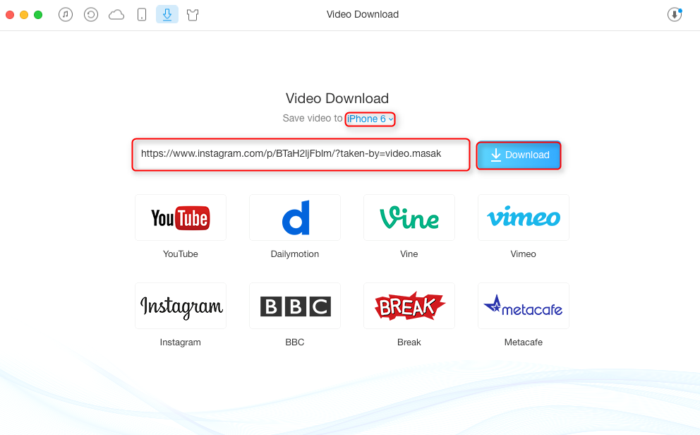 How to Download Instagram Videos with AnyTrans - Step 2