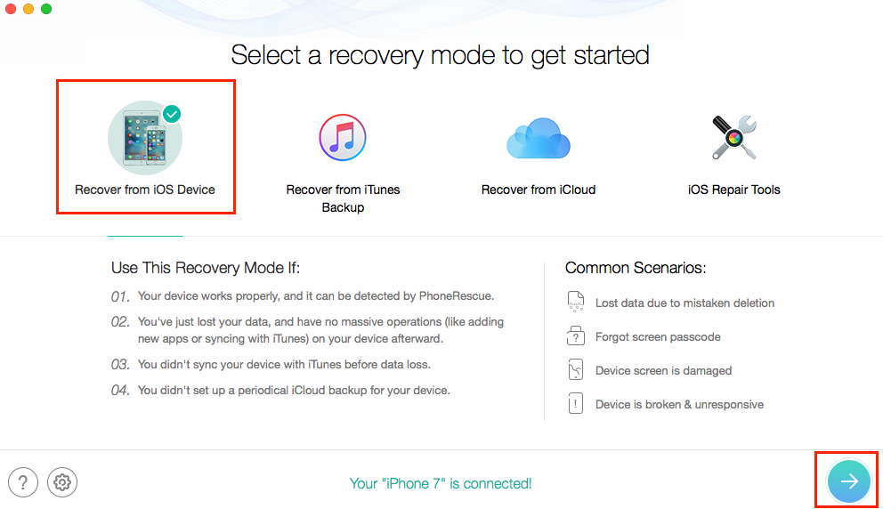 Fix iPhone Update Deleted Music with PhoneRescue - Step 1