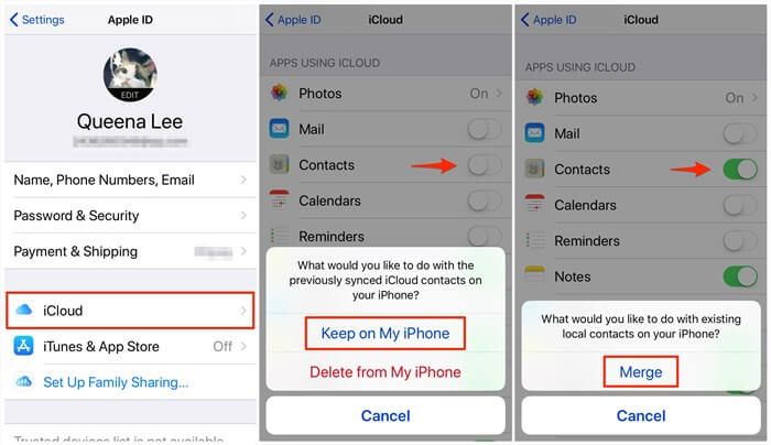 Fix iPhone Lost Contacts – Check iCloud Sync