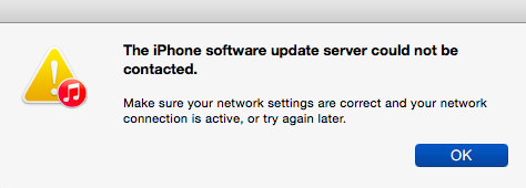iPhone Software Update Server Could Not Be Contacted