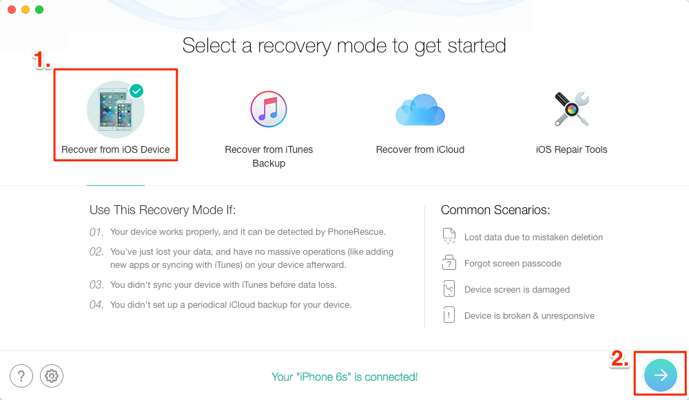 Fix iPhone Lost Apps after Update & Recover Deleted Apps – Step 2