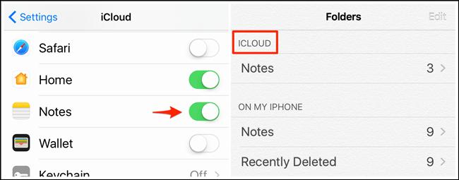 Turn on Notes in iCloud