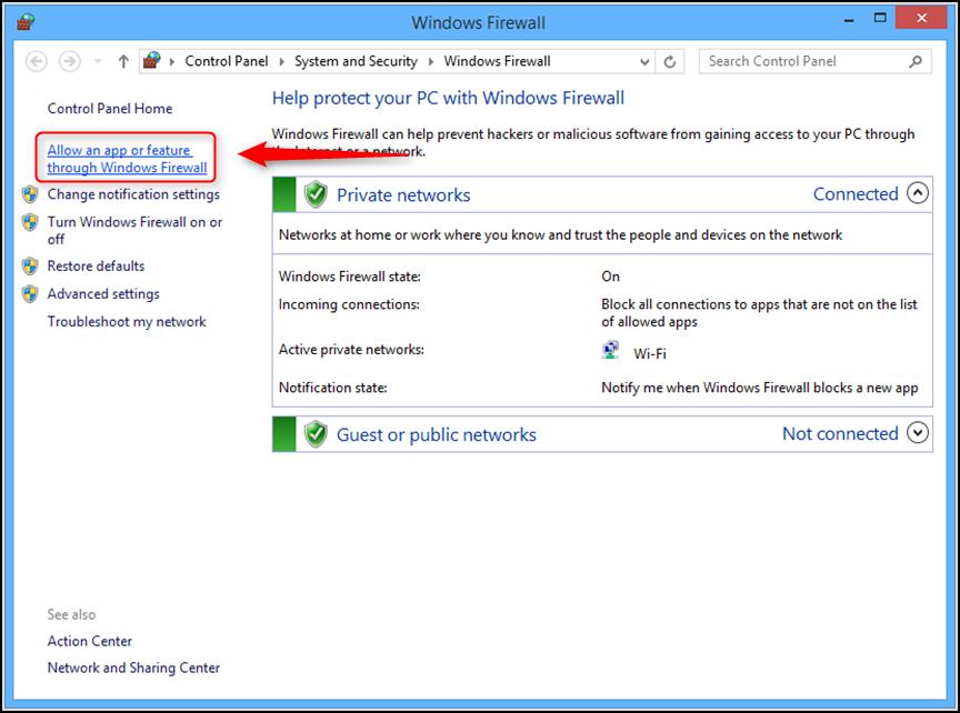 Fix iTunes Error 45075 by Checking Windows Firewall - Step 2