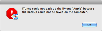iTunes Could Not Back up iPhone/iPad/iPod