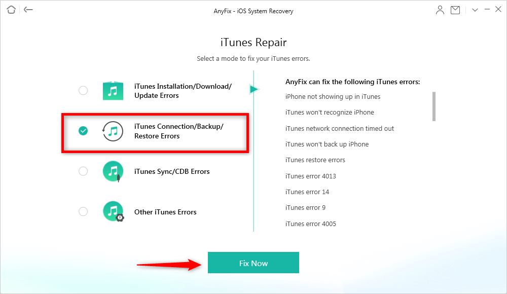 Fix iTunes Error via AnyFix with Ease