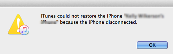 iTunes Could Not Restore the iPhone Because the iPhone Disconnected