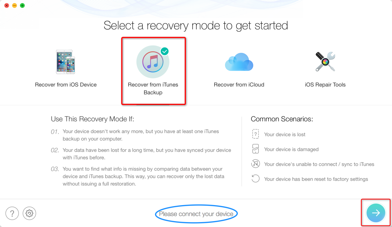 Fix iPhone Disconnects Errors During Restore by Using PhoneRescue - Step 2