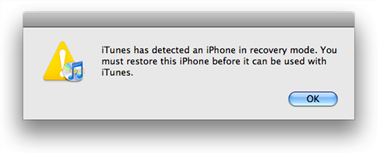 iTunes has detected an iPhone
