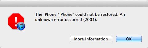 iTunes Error 2001