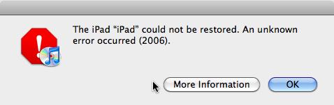 iTunes Error 2006