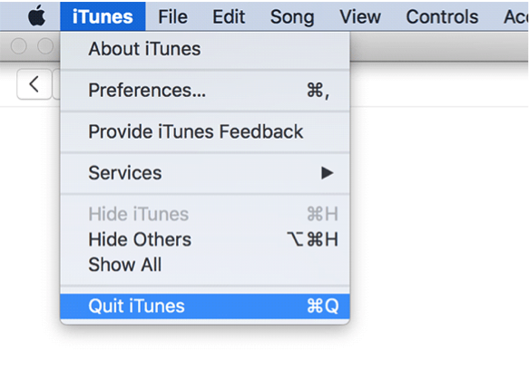 Quit the iTunes app on Mac