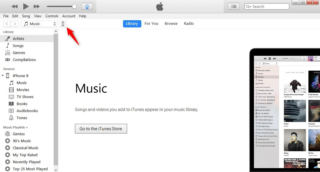iTunes Recognizes iPhone on Windows 10