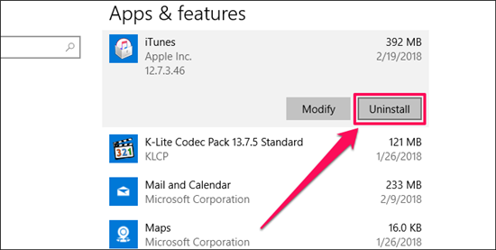 """How to Fix """"iTunes Not Responding on Windows 10"""" Issue via Re-install iTunes"""