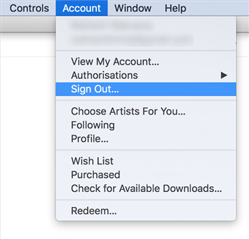 Sign out of your Account in iTunes for Desktop