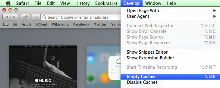 Clear Safari Cache on Mac