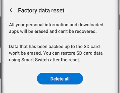 Reset the tablet to factory settings