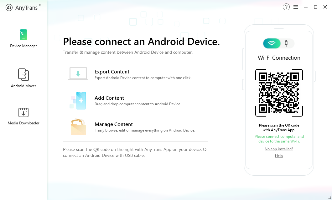 Switch from iPhone to Samsung with AnyTrans for Android – Step 1