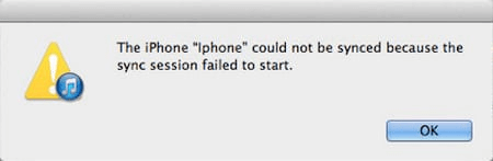 iTunes Sync Session Failed to Start