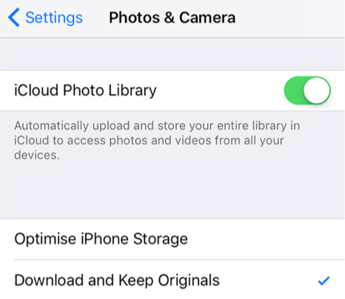 Fix iPhone Unable to Share Photos - Toggle off & on iCloud Photos Library