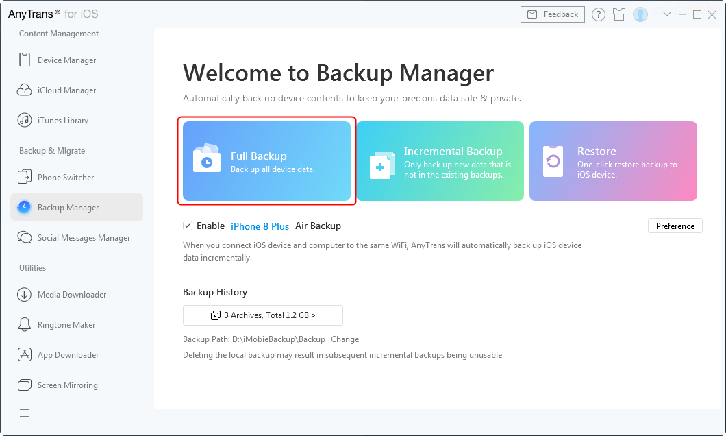 Backup iPhone Data Selectively via AnyTrans for iOS – Step 1
