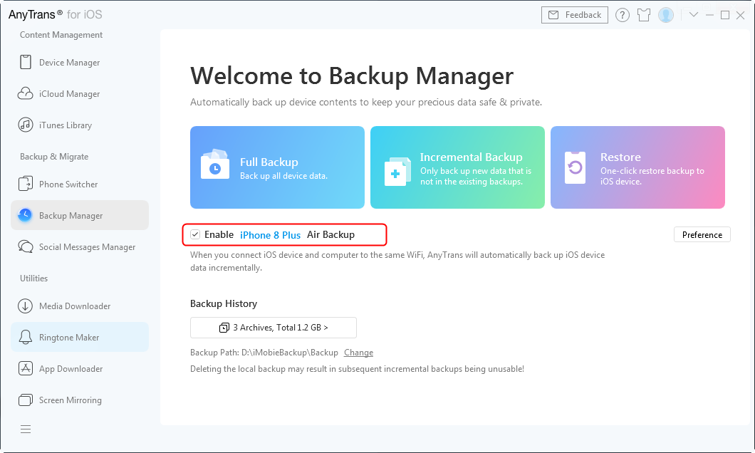 Click on Air Backup mode on AnyTrans for iOS