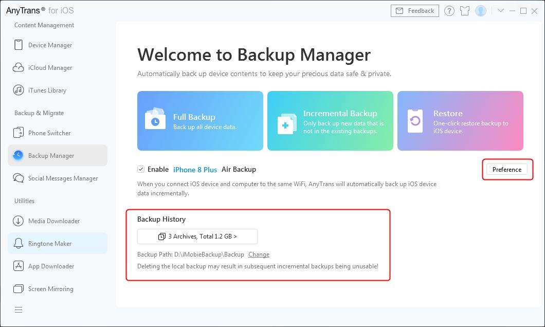 Set Backup Preference and Check Backup History