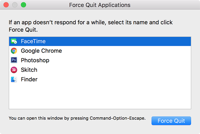 Force Close FaceTime on the Mac