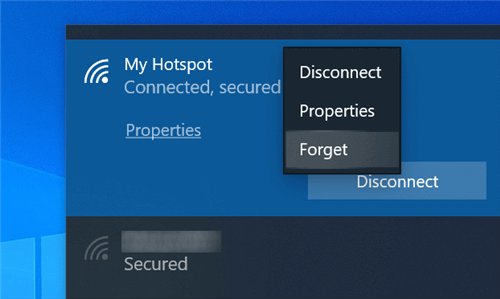 Forget a WiFi Network on a Laptop