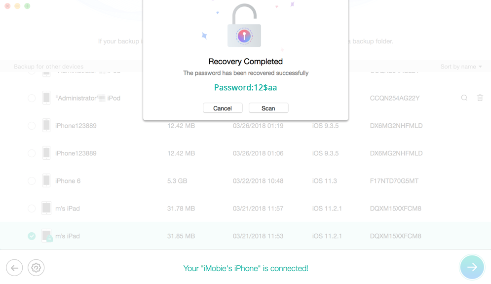 How to Unlock Forgot iTunes backup Password - Step 3
